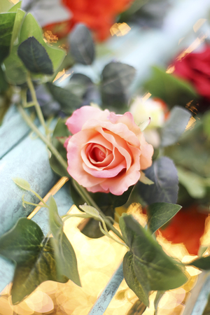 Close up view at rose floral decoration
