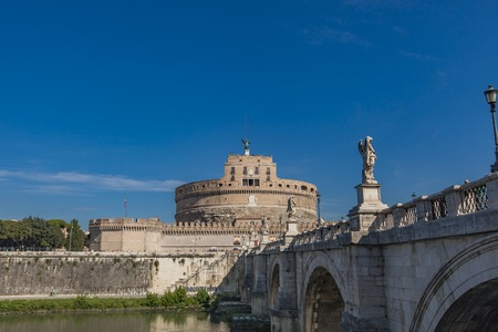 castel: View at Sant Angelo Bridge in Rome, Italy