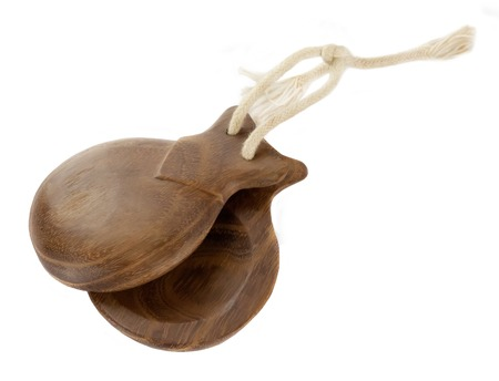 Spanish castanuelas is percussion instrument used in flamenco, sevillanas dance in Spain Banque d'images