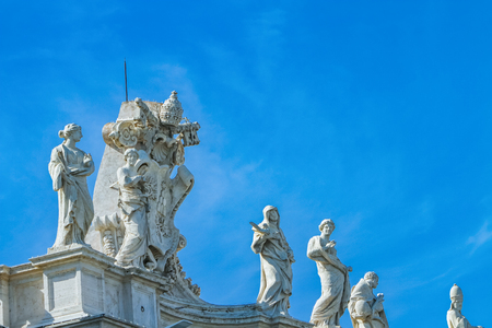 Sculptures from the main facade of the St Peters basilica in Vatican