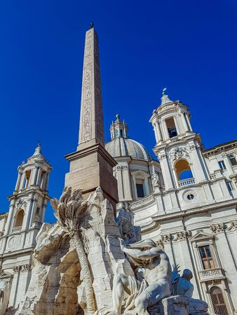 italian fountain: Fountain of the Four Rivers in the Piazza Navona, Rome Stock Photo