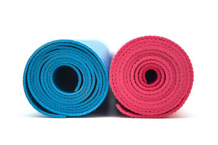 Close up view at exercise mats isolated on the white