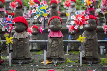 Jizo statues of unborn children at Shiba park in Tokyo Stock Photo