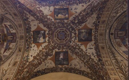 Ceiling in Palazzo Chigi Saracini in Siena Editorial