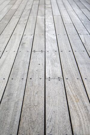nailed: Close view of the wooden planks nailed down Stock Photo