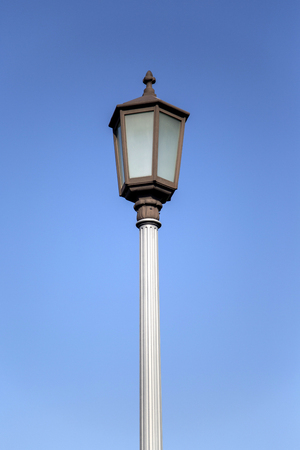 Close view of the street lamp in Tokyo with sky behind it