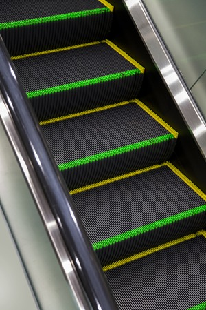 Close view of the staircase of an escalator