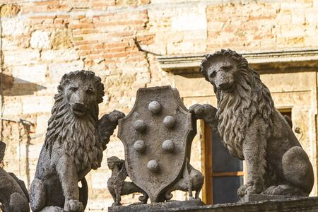 montepulciano: Architectural detail with lions from Montepulciano in Italy Stock Photo