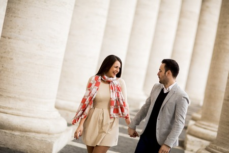 Loving couple at the St. Peters Square in Vatican Reklamní fotografie