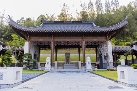 SEMENYIH, MALAYSIA - AUGUST 10, 2014: Detail of the Nirvana Memorial Park in Semenyih, Malaysia. With approximately 588 acres it is the largest memorial park in Asia.