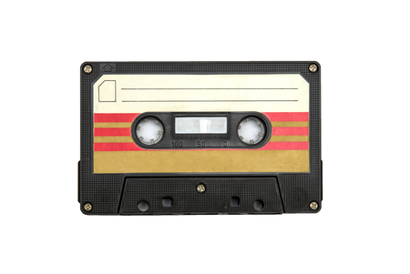 Vintage audio cassette isolated white background