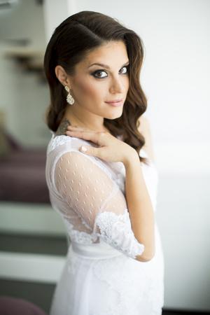 Young pregnant bride Stock fotó
