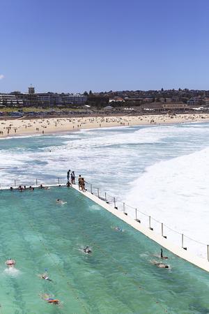 SYDNEY, AUSTRALIA - JANUARY 21, 2017: Unidentified people at Bondi Baths in Sydney, Australia. It is a tidal pool opened at 1929. Editorial
