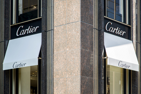 TOKYO, JAPAN - OCTOBER 2, 2016: Detail of the Cartier shop in Tokyo, Japan. Cartier designs, manufactures, distributes and sells jewellery and watches. Its founded in Paris, France in 1847. Editorial