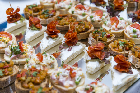 Colorful canape with vegetables and sausage on plate. Tasty appetizer for party or banquet