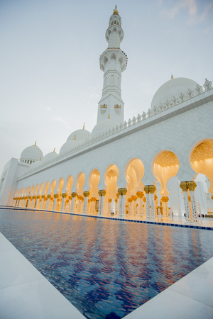 ABU DHABI, UAE - MAY 4, 2015: Sheikh Zayed Mosque in Abu Dhabi. Mosque was designed by Yusef Abdelki and opened at 2007. Editorial