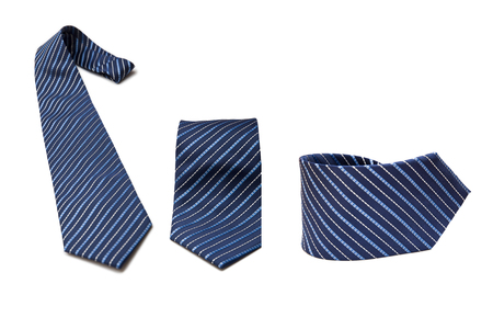 Blue necktie set isolated on white
