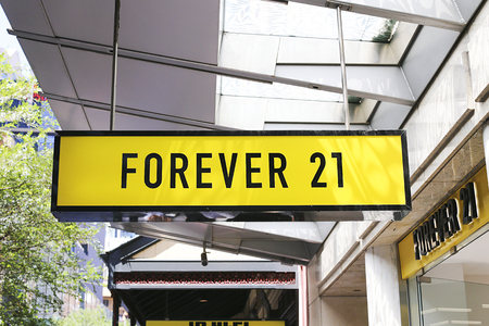 SYDNEY, AUSTRALIA - JANUARY 23, 2017: Detail of Forever 21 store in Sydney, Australia. Forever 21 is an American fast fashion retailer founded at 1984. Editorial