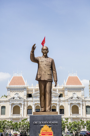 Ho Chi Minh statue in front of Ho Chi Minh City Hall in Vietnam