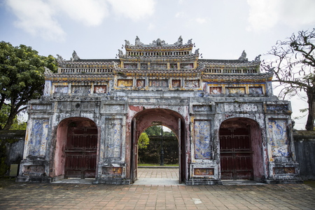 Detail of the Royal Palace in Hue, Vietnam