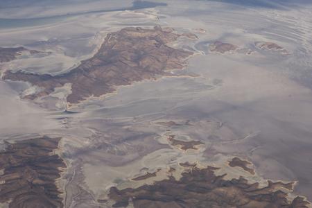 Aerial view at salt lake Urmia in Iran Imagens