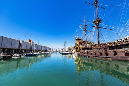 neptun: GENOA, ITALY - APRIL 29, 2017: Galleon Neptun in Porto antico in Genoa, Italy. It is a ship replica of a 17th century Spanish galleon built in 1985 for Roman Polanskis film Pirates. Editorial