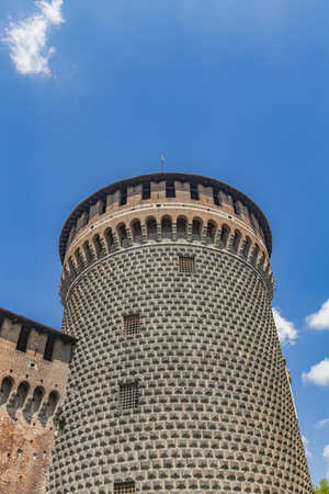 sforza: Detail of the Sforza Castle in Milan, Italy
