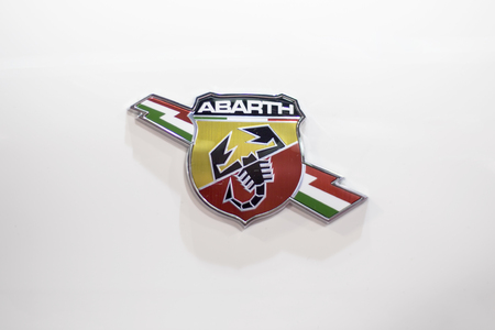 BELGRADE, SERBIA - MARCH 28, 2017: Detail of the Abarth car. Abarth is racing car and road car maker founded at 1949.