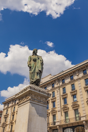 Monument to writer and poet Giuseppe Parini on Piazza Cordusio in Milan, Italy