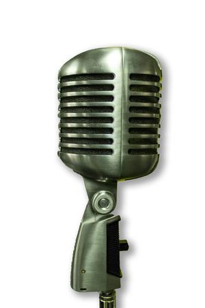 Single vintage microphone isolated on white background Reklamní fotografie
