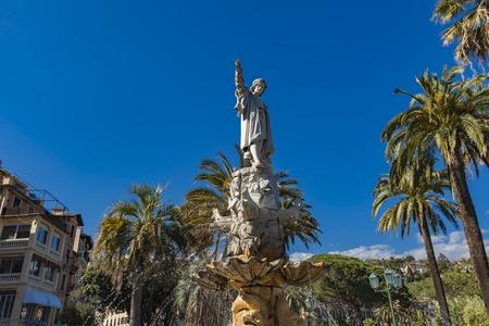 Monument to Christopher Columbus in Santa Margherita Ligure, Italy Editorial