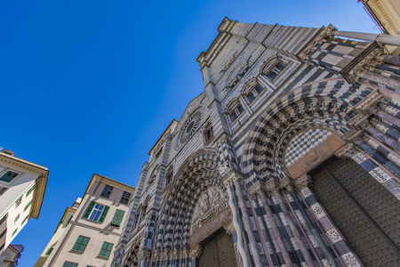 Closeup view at Genoa Cathedral in Italy Stock Photo - 77903273