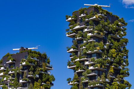 MILAN, ITALY-APRIL 28, 2017: Detail of the Bosco Verticale in Milan, Italy. It is a pair of residential towers in the Porta Nuova district of Milan that host more than 900 trees. Editorial