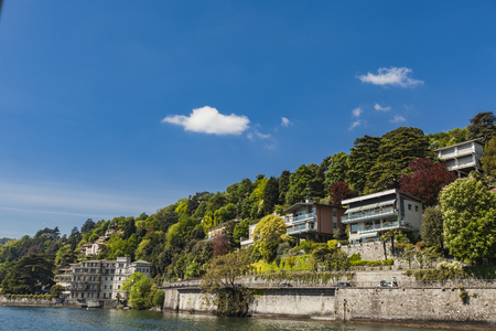 View at small town Tavernola on Como lake, Italy