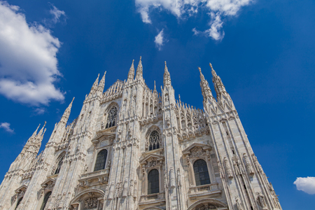 Detail of the Milan cathedral in Italy on sunny day Stock Photo