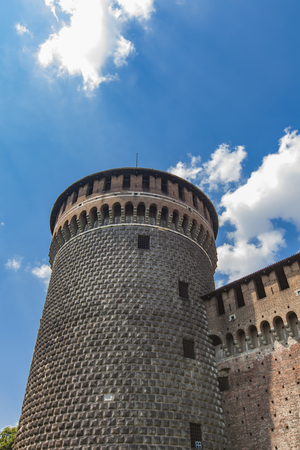 Detail of the Sforza Castle in Milan, Italy