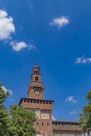 Detail of the Sforza Castle in Milan, Italy Reklamní fotografie - 77867609
