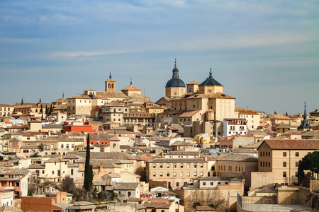 Toledo, Spain. Panoramic view of the old city and Alcazar