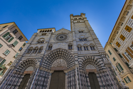 Closeup view at Genoa Cathedral in Italy