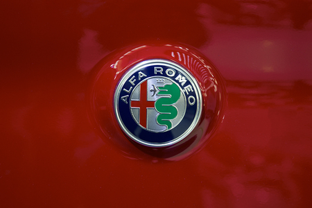 BELGRADE, SERBIA - MARCH 28, 2017: Detail of the Alfa Romeo car. Alfa Romeo Automobiles is Italian car manufacturer, founded in Milan. Editorial