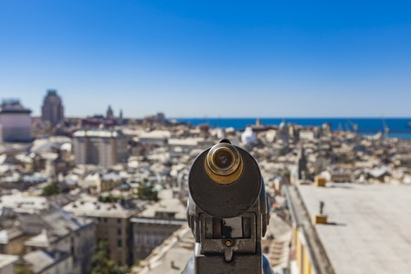 Closeup of touristic monocular for view at Genoa, Italy Stock Photo - 77919864