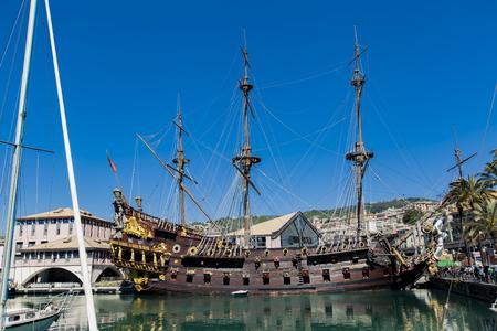 GENOA, ITALY - APRIL 29, 2017: Galleon Neptun in Porto antico in Genoa, Italy. It is a ship replica of a 17th century Spanish galleon built in 1985 for Roman Polanskis film Pirates. Editorial