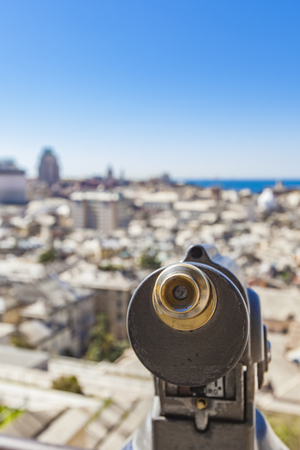 Closeup of touristic monocular for view at Genoa, Italy