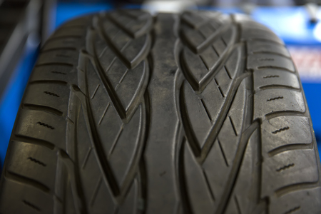 Close up view at black tire pattern