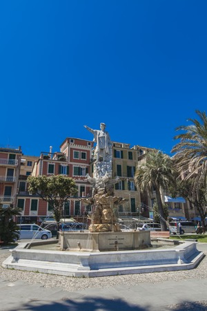 SANTA MARGHERITA LIGURE, ITALY - APRIL 29, 2017: Monument to Christopher Columbus in Santa Margherita Ligure, Italy. Monument was created by sculptor Odoardo Tabacchi at 1892 Editorial