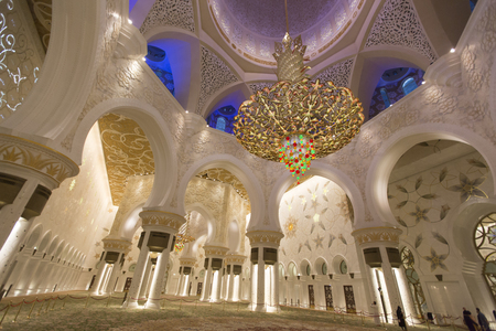 ABU DHABI, UAE - MAY 4, 2015: Detail of Sheikh Zayed Grand Mosque in Abu Dhabi. Mosque was design by Yusef Abdelki and was opened at 2007. Editorial