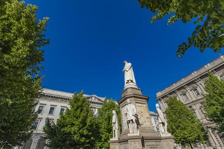 leonardo da vinci: Monument of Leonardo da Vinci in Milan, Italy Stock Photo