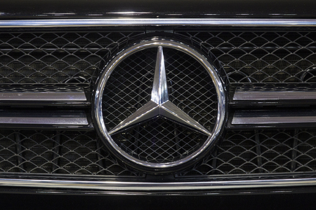 BELGRADE, SERBIA - MARCH 28, 2017: Detail of the Mercedes car. Company became known as Daimler-Benz AG, later Mercedes-Benz using its trade name. Sajtókép