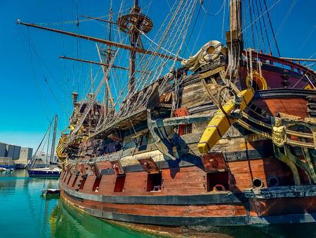 GENOA, ITALY - APRIL 29, 2017: Galleon Neptun in Porto antico in Genoa, Italy. It is a ship replica of a 17th century Spanish galleon built in 1985 for Roman Polanskis film Pirates. 에디토리얼