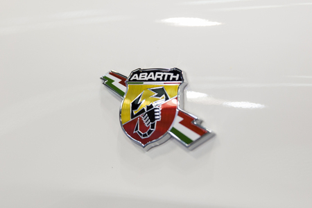 BELGRADE, SERBIA - MARCH 28, 2017: Detail of the Fiat Abarth car.  Abarth car  was founded by Italo-Austrian Carlo Abarth in 1949.